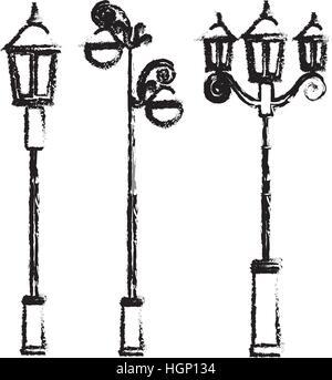 street lamp icon image sketch style vector illustration design - Stock Photo