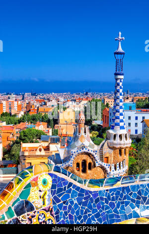 park Guell by Gaudi, Barcelona - Stock Photo