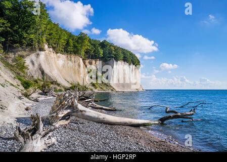 chalk cliffs at Jasmund National Park, near Königsstuhl (King's Chair) on the island of Rügen, Mecklenburg-Vorpommern, - Stock Photo