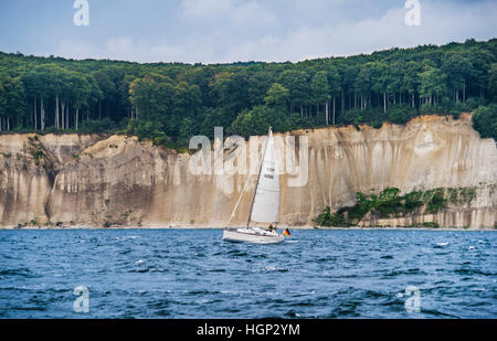 sailing along the chalk cliff coast of Jasmund National Park on the island of Rügen, Baltic Sea, Mecklenburg Vorpommern, - Stock Photo