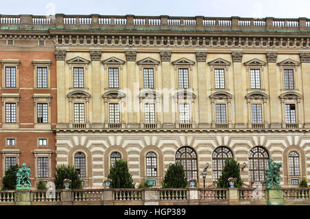 The facade of Stockholm Royal Palace (Kungliga slottet) in old town (Gamla stan), Stockholm, Sweden - Stock Photo
