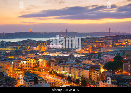 Twilight view of Lisbon historical center. Portugal - Stock Photo