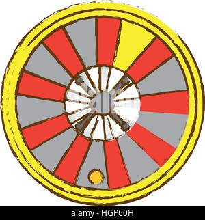casino roulette wheel icon over white background. gambling games concept. colorful design. vector illustration - Stock Photo