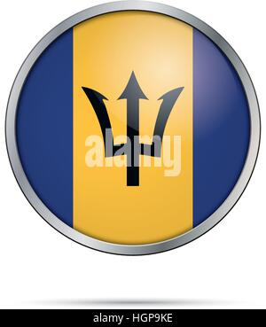 Barbados flag glass button style with metal frame. Vector Barbadian flag button. - Stock Photo