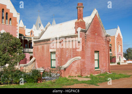 Rear facade of the gothic style St. Gertrude's College in the Benedictine community of New Norcia in Western Australia. - Stock Photo