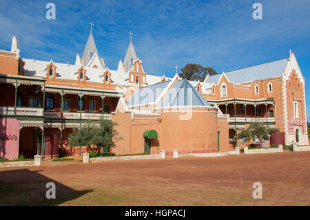 Grandious St. Gertrude's College with brick gothic architecture in the Benedictine Community of New Norcia, Western - Stock Photo