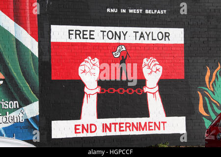 Free Tony Taylor Mural on the Falls Road in Belfast - Stock Photo
