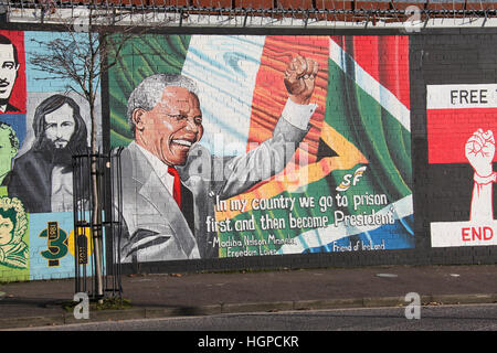 Republican murals on the Falls Road in Belfast - Stock Photo