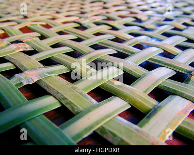 Woven basket background with bamboo - Stock Photo