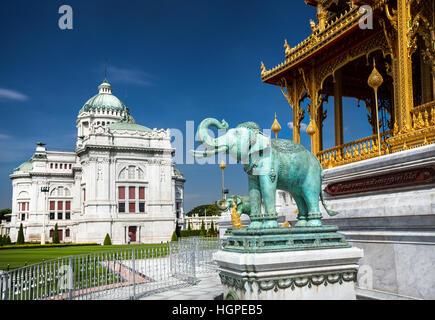 The Ananta Samakhom Throne Hall in Thai Royal Dusit Palace and green Elephant statue, Bangkok, Thailand. - Stock Photo
