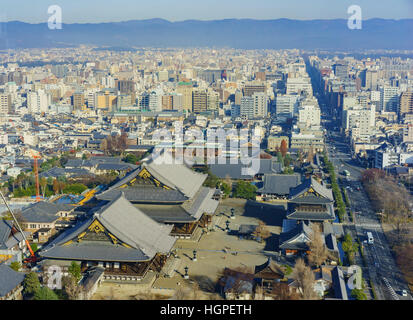 Aerial view of Higashi Honganji and Kyoto downtown cityscape on Kyoto Tower, Japan - Stock Photo