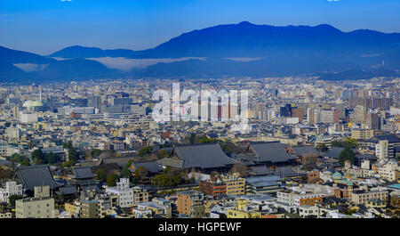 Aerial view of Nishi Honganji and Kyoto downtown cityscape on Kyoto Tower, Japan - Stock Photo