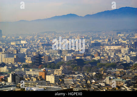 Aerial view of To Ji and Kyoto downtown cityscape on Kyoto Tower, Japan - Stock Photo