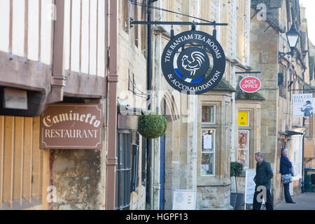 High street of the Cotswold market town of Chipping Campden including bantam tea rooms, Gloucestershire,England - Stock Photo