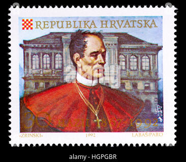 Croatian postage stamp (1992) : 125th anniversay of Hazu - Croatian Academy of Sciences and Arts. Josip Juraj Strossmayer - Stock Photo