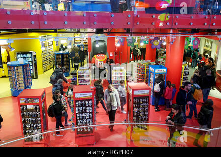 London,Uk - April 15, 2016: Tourists inside the M&M's World. - Stock Photo