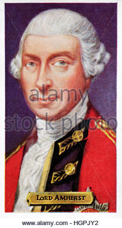 Lord Amherst, 1717 – 1797 was an officer in the British Army and the Commander-in-Chief of the Forces. - Stock Photo