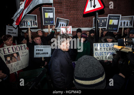 Tom Stoppard, British playwrite and screenwriter joins the Free Belarus Now protest outside Belarusian Embassy in - Stock Photo