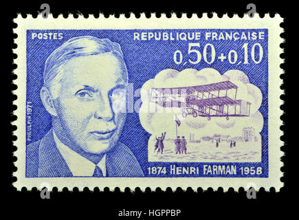 French postage stamp (1971) : Henri Farman (1874-1958) Anglo-French aviator and aircraft designer and manufacturer - Stock Photo