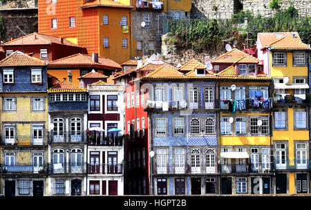 buildings on quay of Douro river Porto Portugal - Stock Photo