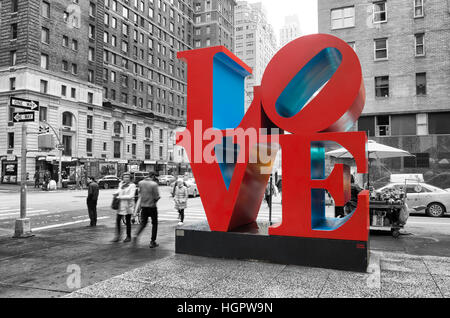 NEW YORK - MAY 3, 2016: Love sculpture is an iconic Pop Art work by american artist Robert Indiana - Stock Photo