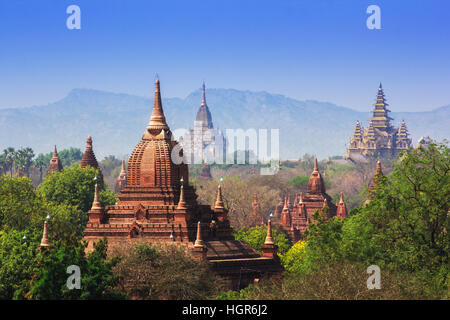 Temples in Bagan, Land of Pagoda, Myanmar - Stock Photo