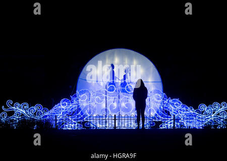 The Magical Chinese Lantern Festival opens at Roundhay Park in Leeds, West Yorkshire. 40,000 light bulbs were used. - Stock Photo