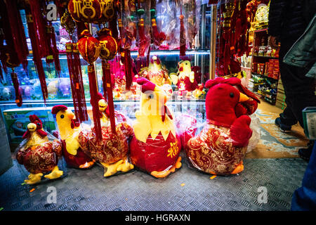 Hong Kong, China. 12th Jan, 2017. The end of January is the Chinese New Year. In the Chinese zodiac is the chicken - Stock Photo