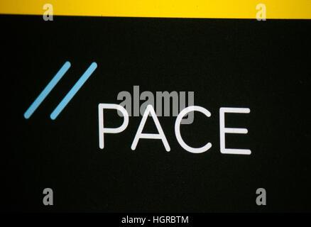 das Logo der Marke 'Pace', Berlin. - Stock Photo