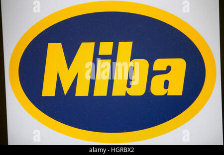 das Logo der Marke 'Miba'. - Stock Photo