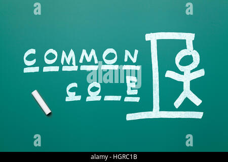 Common Core Hang Man on Green Chalk Board Isolated on White Background. - Stock Photo