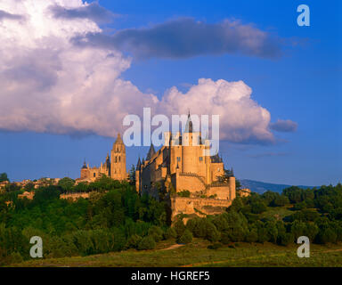 The Alcazar and Cathedral, Segovia, Castile y Lyon, Spain - Stock Photo