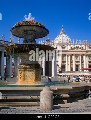 St. Peter's Square and Basilica, Vatican, Rome, Italy - Stock Photo