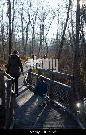 Mother & 3 children three kids daughters on walkway pathway foot path footpath Marais de Lavours National Nature - Stock Photo