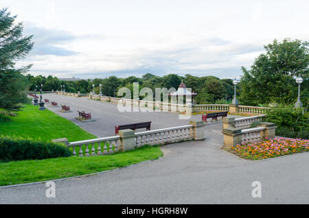 A North Facing View Along the Terrace of South Marine Park, Sea Road, South Shields - Stock Photo