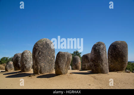 Megalithic Stone-circles, 5000 to 4000 BC, Almendres Cromlech, near Evora, Portugal - Stock Photo