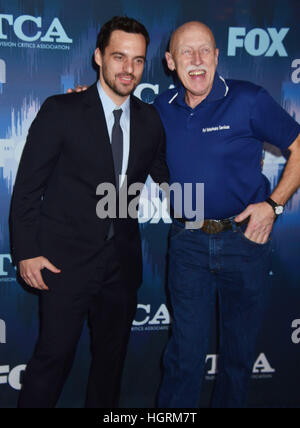 Los Angeles, USA. 11th Jan, 2017. Jake Johnson, Jan Pol arriving at the FOX All-Star Party 2017 Winter TCA Tour - Stock Photo