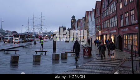 Bergen, Norway. 12th January, 2017. Norwegian weather: UNESCO World Heritage Site Bryggen, German Warf escaped a - Stock Photo