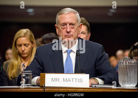 Washington DC, USA. 12th January 2017. United States Marine Corps General James N. Mattis (retired) testifies before - Stock Photo
