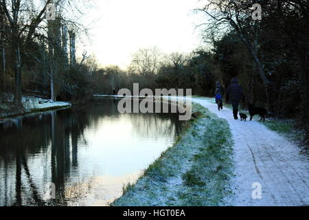 Swindon, UK, 13th December 2017. Member of the public walks dogs & man cycles bike along Canal tow path at dawn - Stock Photo