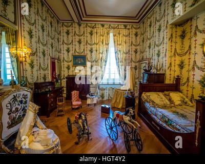 Children's room, Château de Cheverny, Loir-et-Cher Département, France - Stock Photo