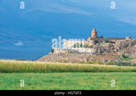 Khor Virap Monastery and apostolic church at the foot of Mount Ararat, Ararat Province, Armenia, Caucasus, Middle - Stock Photo