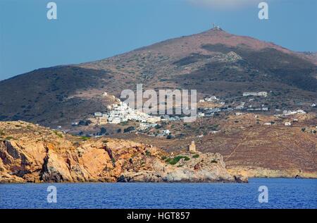 Chora - The Chora town on the Ios island in the Aegean Sea (Greece). - Stock Photo