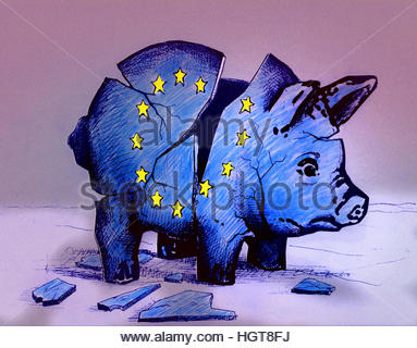 European Union flag on broken piggy bank - Stock Photo
