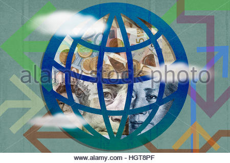 Arrows around montage of international currency inside of globe - Stock Photo