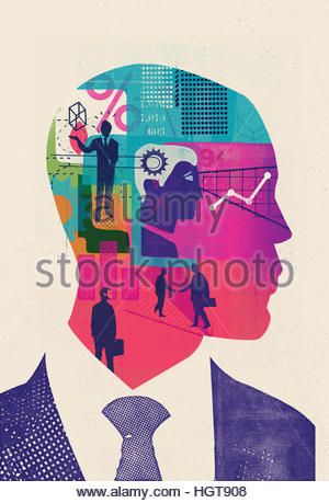 Businessman thinking with head full of ideas and data - Stock Photo