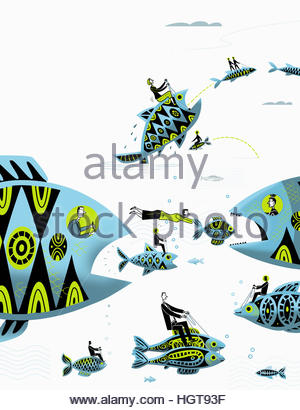 Businessmen and businesswomen controlling large fish chasing small fish - Stock Photo