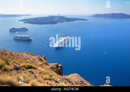Greece The Cyclades Santorini Nea Kameni Petroliou Bay Excursion Stock Photo Royalty Free