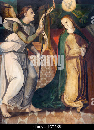 AVILA, SPAIN, APRIL - 18, 2016:The painting of annunciation by unknown artist (15. cent.) in Cathedral de Cristo - Stock Photo