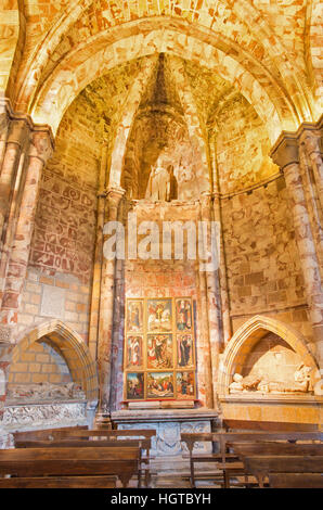 AVILA, SPAIN, APRIL - 18, 2016: The side chapel in Catedral de Cristo Salvador with the altar by unknown artist - Stock Photo
